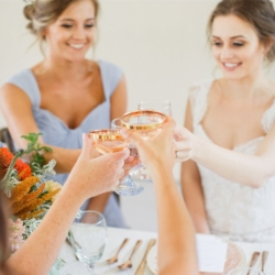 Bridal party toast with vintage gold rimmed glasses, girls wearing light blue bridesmaids dresses, overall design by Magnificent Moments Weddings.