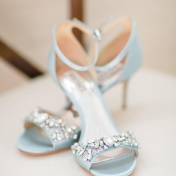 Blue bridal shoes in a Charlotte Wedding at The Dairy Barn