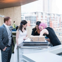 gelato cart on the terrace at the mint museum uptown for a wedding