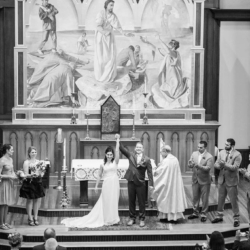 bride and groom just married at st peters catholic church uptown charlotte