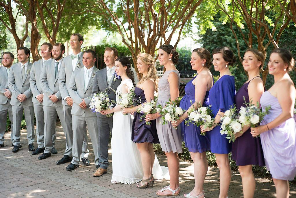 wedding party photos in uptown charlotte