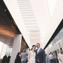 bride and groom at the mint museum uptown