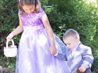 flower girl and ring bearer ready to walk down the aisle at McGill Rose Garden