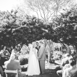 Wedding ceremony at McGill Rose Garden in Charlotte NC