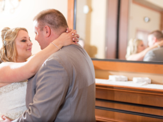 bride and groom first dance at Ruth's Chris Steakhouse