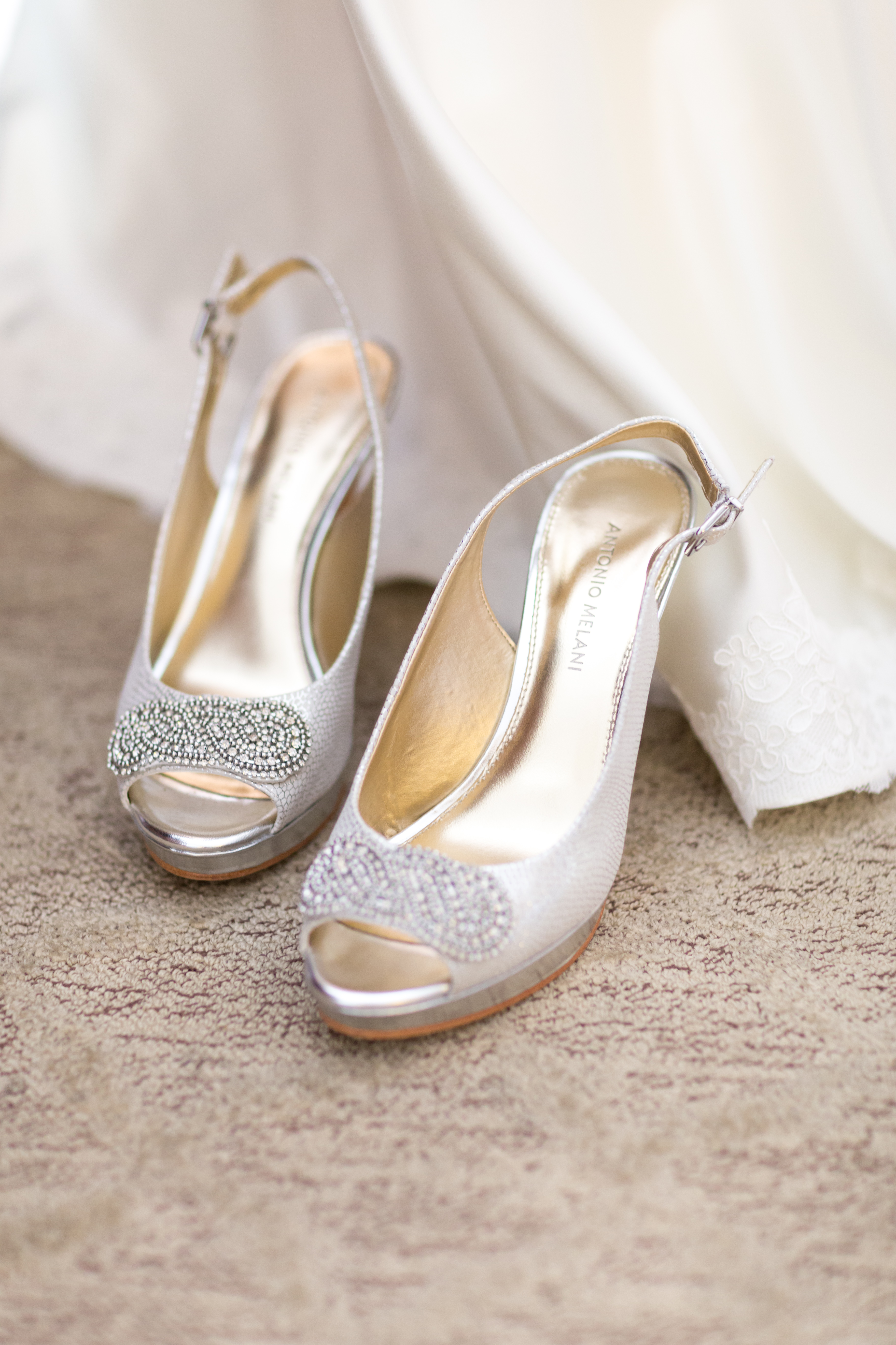 bridal shoes in the suite that the Hilton Center City in Charlotte North Carolina