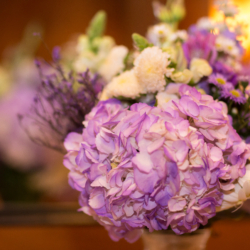purple centerpieces at a wedding