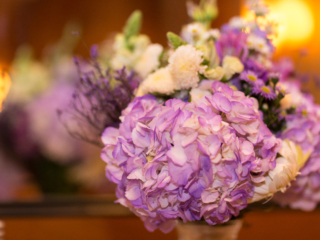 purple centerpieces at a wedding