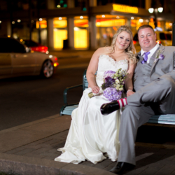 Bride and groom wedding photos in Uptown Charlotte