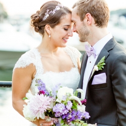 Bride and groom share a moment before their wedding coordinated by Magnificent Moments Weddings