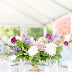 Florals by Spingvale feature soft purples and stunning whites for a summer wedding at The Peninsula Yacht Club