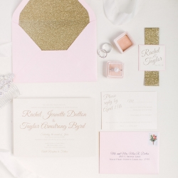 Invitation suite for a spring wedding at The Diary Barn captured by Paige Ryan Photography