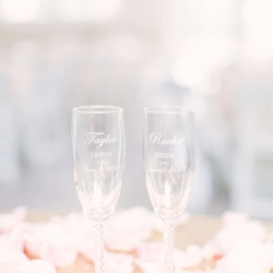 Custom champagne flutes for the Bride and Groom to use for their spring wedding reception at The Diary Barn
