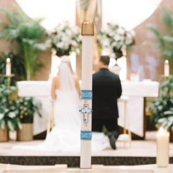 Wedding ceremony at St Matthews Catholic Church Charlotte NC