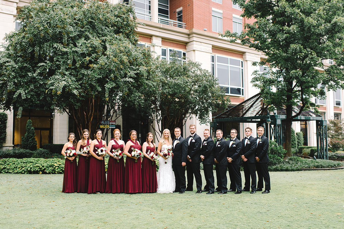 Charlotte Wedding party maroon bridesmaids dresses coordination by Magnificent Moments Weddings