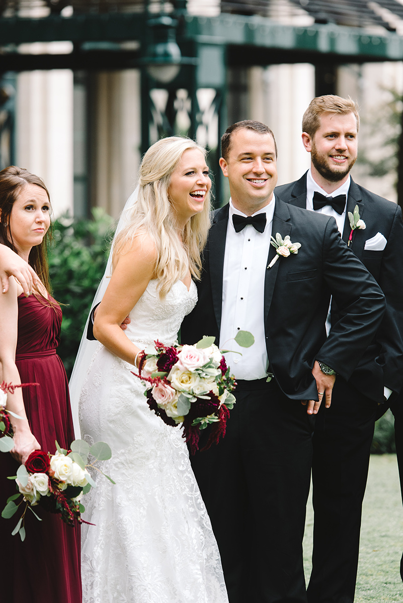 Charlotte wedding party maroon bridesmaids dresses picture by Riette Farthing Photography