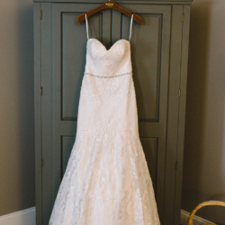 Wedding dress by Winnie Couture bride and groom married at St Matthews Catholic Church near Charlotte NC