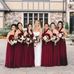 Charlotte bride with bridesmaids maroon dresses at The Club at Longview
