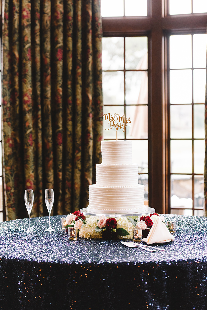 Simple white cake with pearl details by Wow Factor Cakes Charlotte