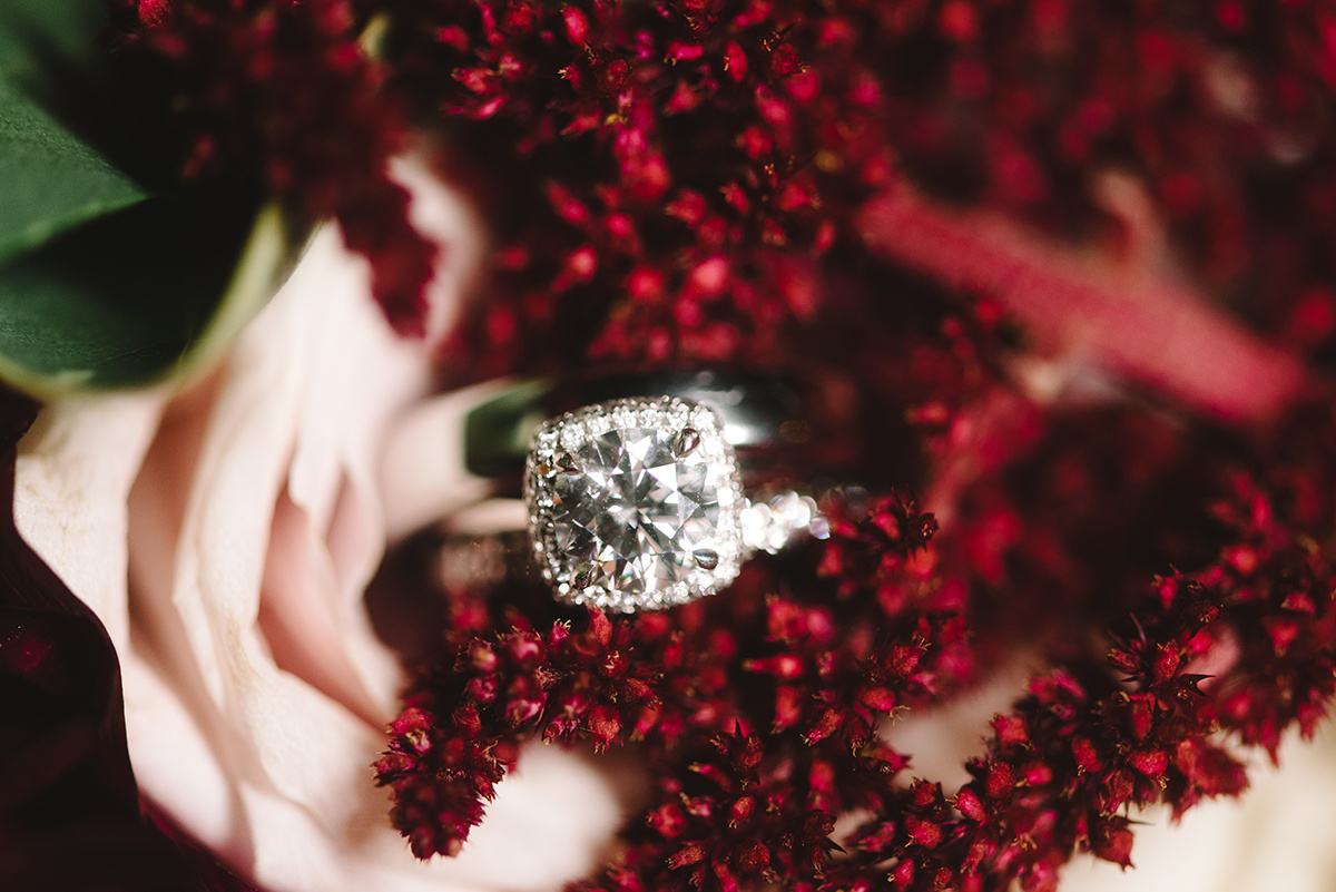 Charlotte Wedding, bridal ring detail shot maroon accent flowers