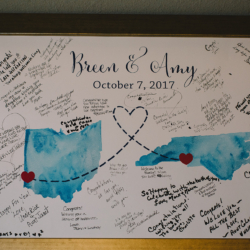 Charlotte guestbook water color states connected by heart, navy and maroon wedding