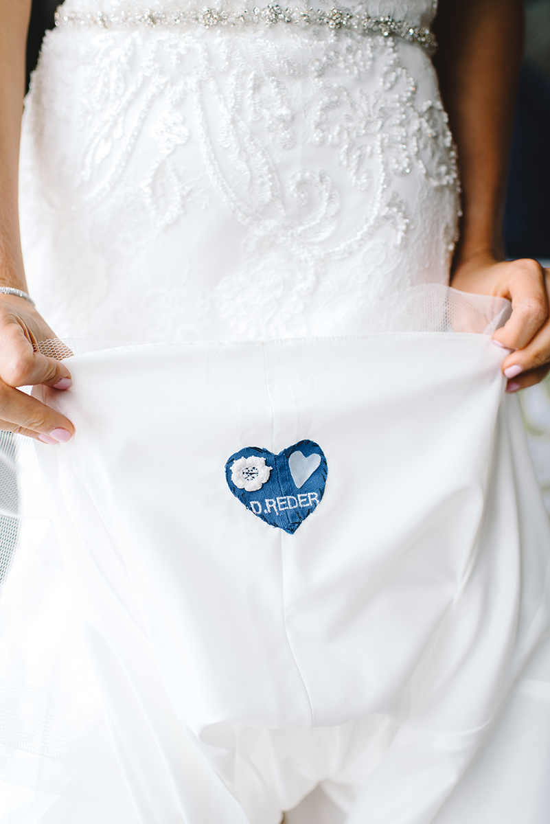 Senitmental heart sewn into a wedding dress by Winnie Couture in Charlotte NC