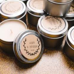 Wedding favor, custom candles labeled for the bride and groom