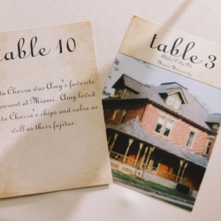 Custom wedding table numbers places that are important to the bride and groom