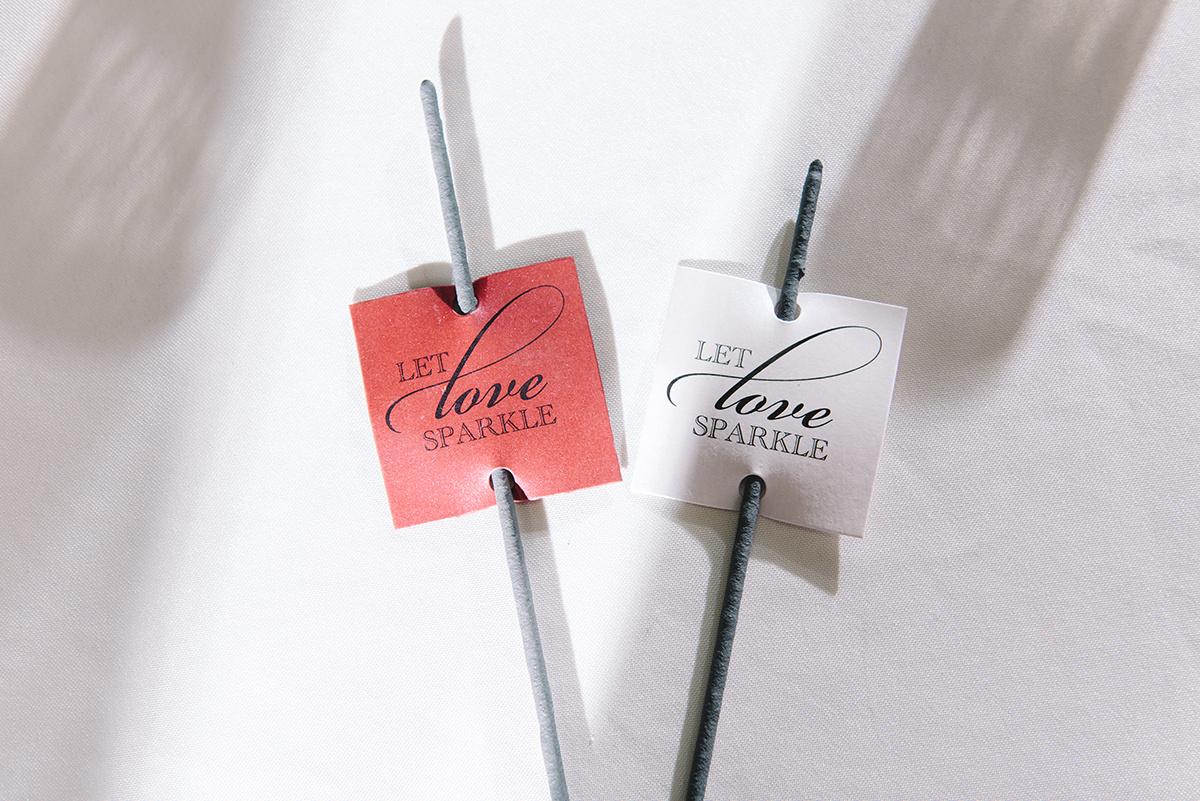 wedding sparkler send off, let love sparkler tag