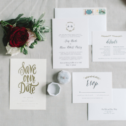Ivory wedding stationary suite with gold details by Minted