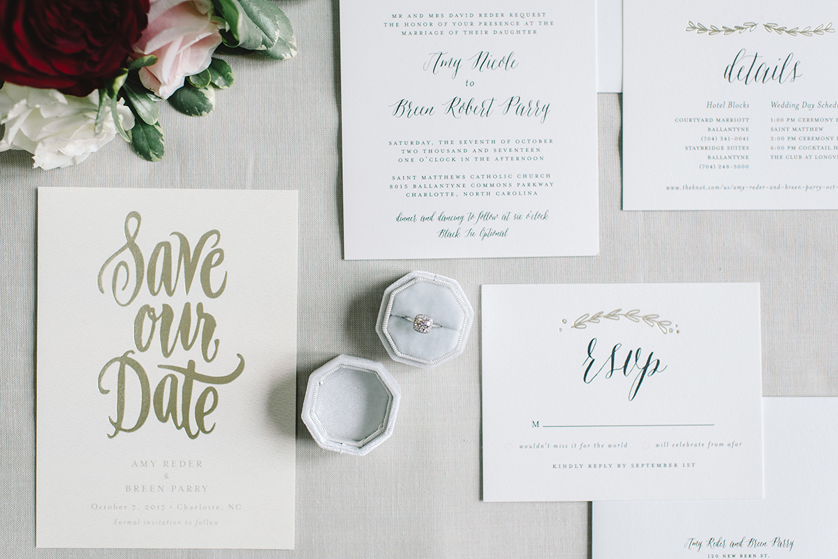 Ivory and gold save the date by Minted