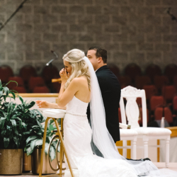 Charlotte Wedding Ceremony St Matthews Catholic Church dress by Winnie Couture