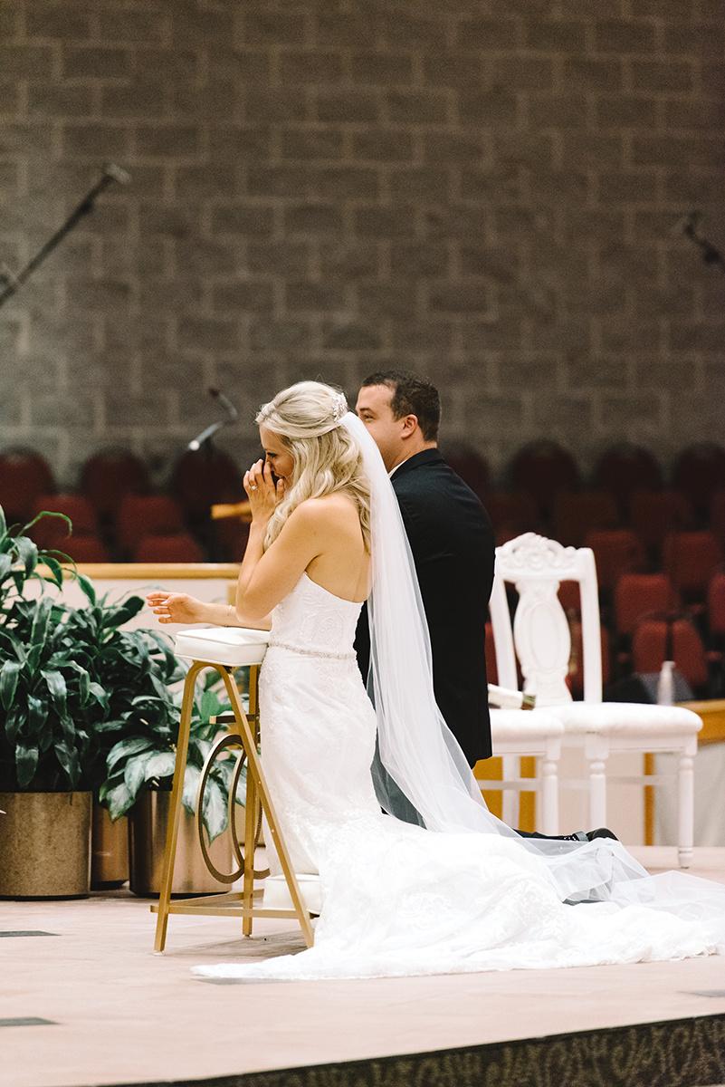 Charlotte Wedding Ceremony St Matthews Catholic Church dress by Winnie Couture