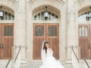 Bride in front of Dilworth United Methodist Church captured by Ryan and Alyssa Photography