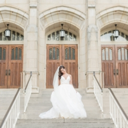 Bridal portrait in front of Dilworth United Methodist Church