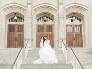 Bridal portrait in front of Dilworth United Methodist Church
