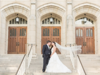 Bride and groom embrace after wedding ceremony at Dilworth United Methodist Church in Charlotte North Carolina