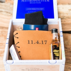 Groomsmen gift box, filled with leather koozie, mini whiskey bottle and scocks