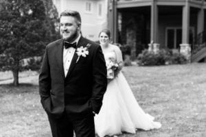 First look bride and groom outdoor Charlotte wedding captured by Samantha Laffoon Photography