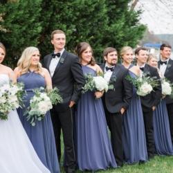 Bridal party in beautiful blue dress captured at Peninsula Yacht Club Wedding