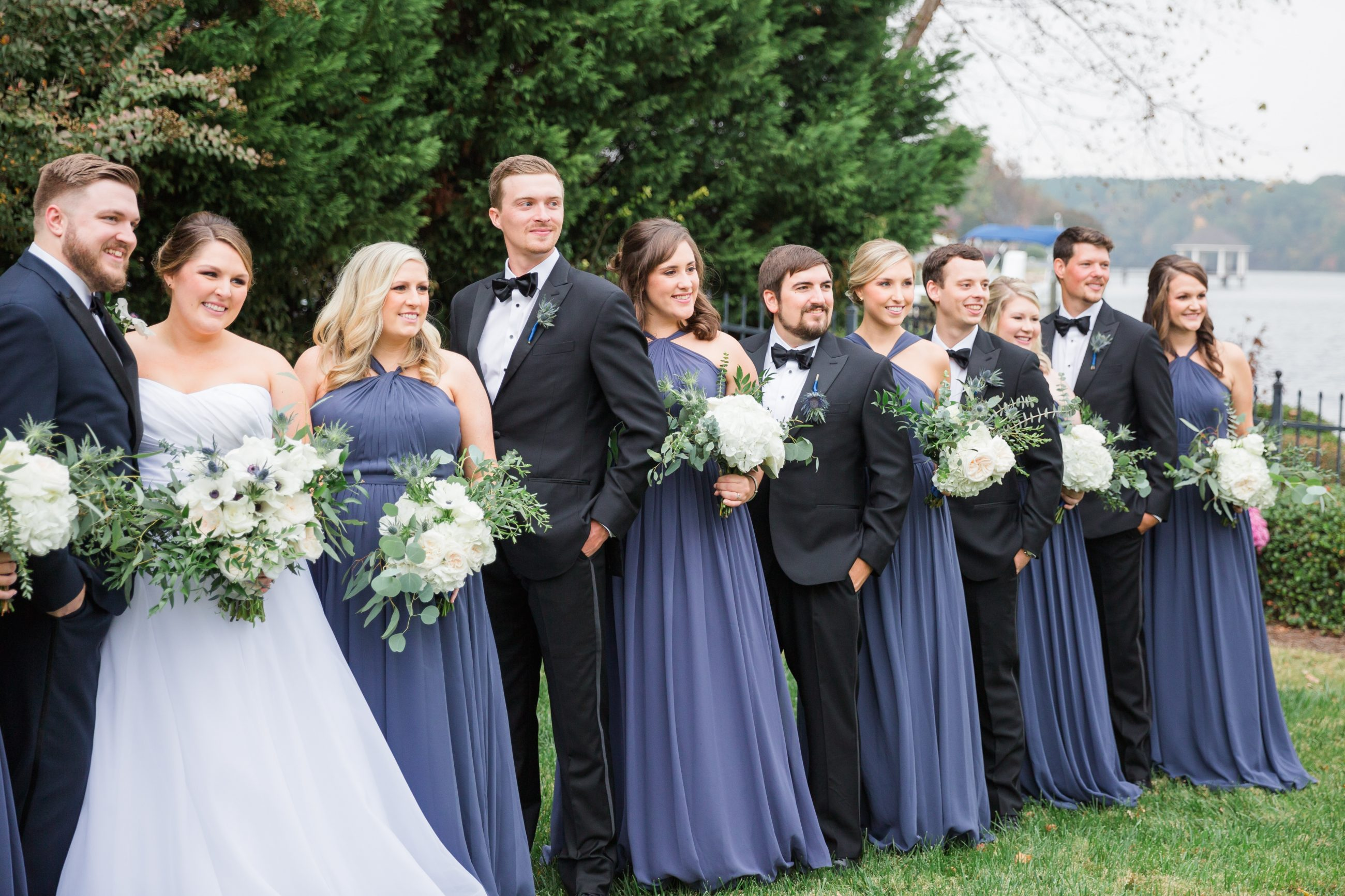 Bridal party in beautiful blue dress captured at Peninsula Yacht Club Wedding