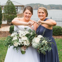 Bridal party sorority traditions lake front picture at Peninsula Yacht Club wedding