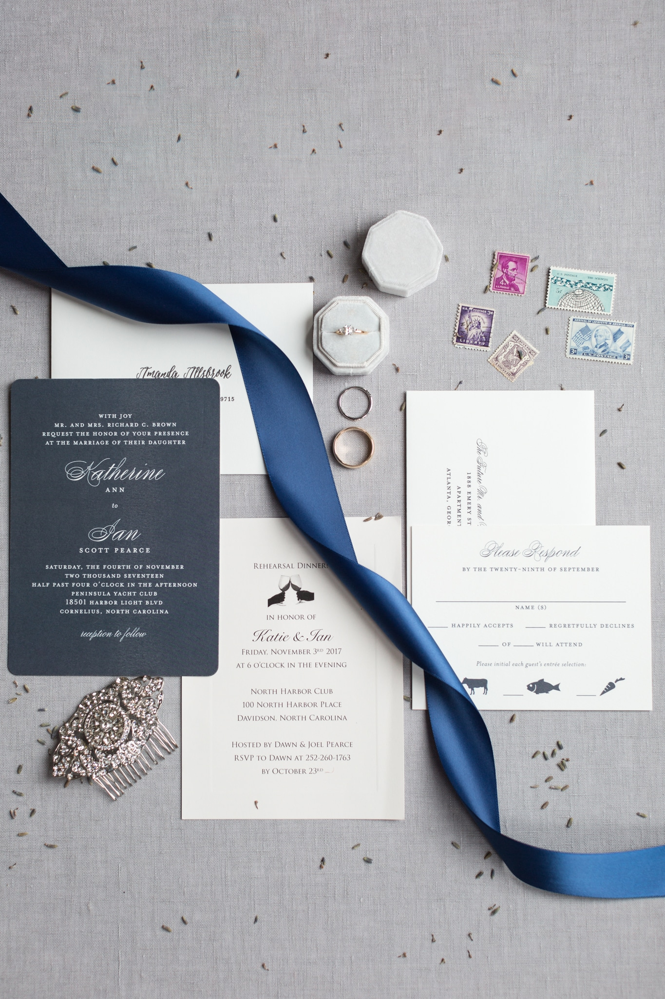 Wedding invitation suite dark blue and simple cream by Minted