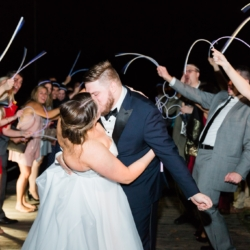 Glow stick send off from a Peninsula Yacht Club Wedding photography by Samantha Laffoon Photography coordination by Magnificent Moments Weddings