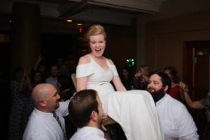 Jewish tradition of Hora at a Charlotte North Carolina wedding reception coordinated by Magnificent Moments Weddings