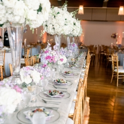 CLux created stunning high and low centerpieces for a spring wedding at Foundation for the Carolinas