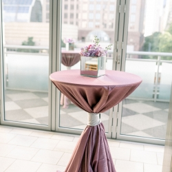 Purple linens and mirror flower boxes from CLux were the perfect accents for a spring wedding captured by Sunshower Photography