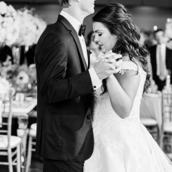 Sunshower Photography captures a sweet moment between a bride and groom as they dance to music provided by Split Second Sound