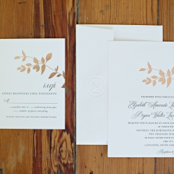 Invitation suite high lights gold foliage perfect for a garden wedding at The Ivy Place
