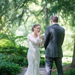 Bride and groom share a sweet moment of love before they exchange vows on their wedding day at The Ivy Place captured by The Beautiful Mess Photography